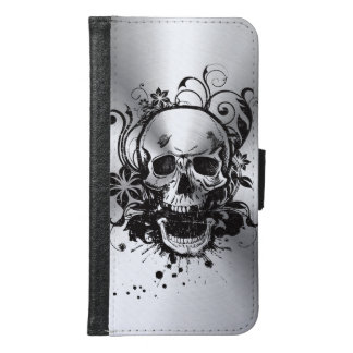 Cool Metallic Sketch Skull Swirl Flowers Manly Samsung Galaxy S6 Wallet Case