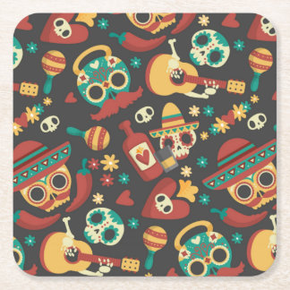 Cool mexican  skull head party mode on design square paper coaster