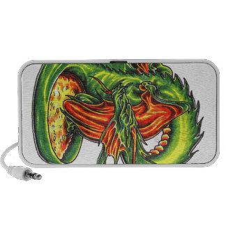 Cool Middle Age Green Dragon theme doodle speaker