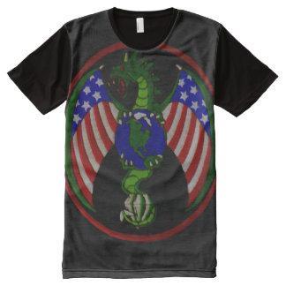 Cool Military Dragon Symbol Shield Custom All-Over Print T-Shirt