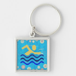 Cool mind in hot times Silver-Colored square key ring