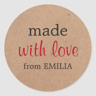 Cool Minimal Kraft Paper Made with love for Gift Round Sticker