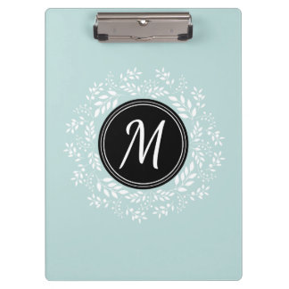 Cool Mint Blue Floral Wreath Custom Monogram Clipboards