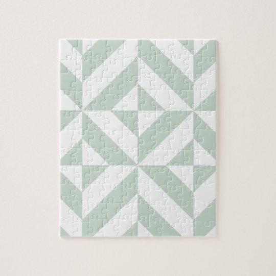 Cool Mint Geometric Deco Cube Pattern Jigsaw Puzzle