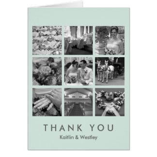 Cool mint grid collage 9 photos memories thank you card