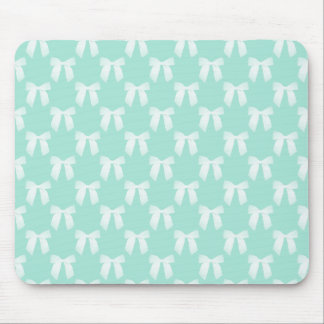 Cool Mint Pastel With White Bows Mouse Pad