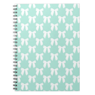 Cool Mint Pastel With White Bows Note Book
