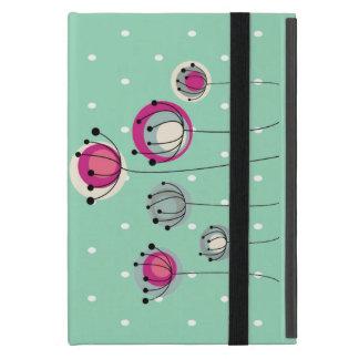 Cool Mint  Polka Dots ,Simplistic Flowers Cover For iPad Mini
