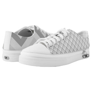 Cool Mismatched Gray Stripes Low Tops