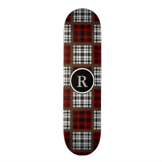 Cool Mixed Plaids Red Black & White Skate Board Deck