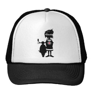 Cool Mod Girl and Scooter in Silhouette Cap