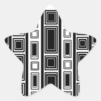Cool modern black and white rectangle design star sticker