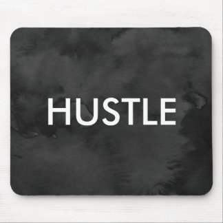 Cool modern black watercolor art hustle typography mouse pad