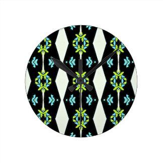 Cool Modern Black White Teal Pattern Clock
