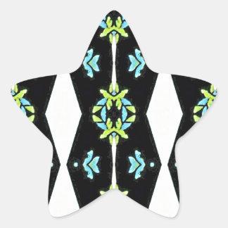 Cool Modern Black White Teal Pattern Star Sticker