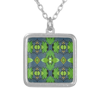 Cool Modern Blue Green Tribal Pattern Silver Plated Necklace