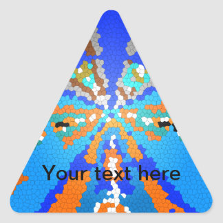 Cool modern blue stained glass triangle sticker