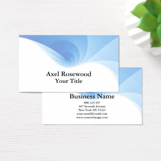 Cool Modern Blue Swirl with White Business Card
