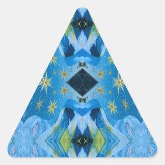 Cool Modern Blues Lime Starry pattern Triangle Sticker