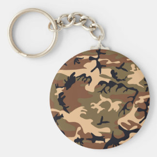 Cool Modern Camouflage Camo Design Basic Round Button Key Ring
