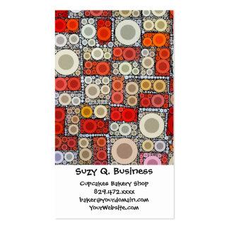 Cool Modern Circle Orange Red Mosaic Tile Business Card