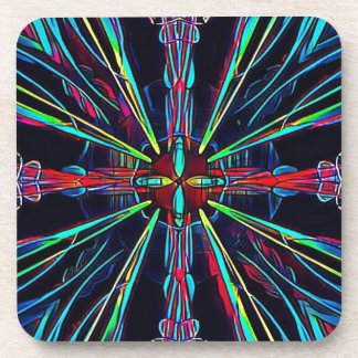 Cool Modern Colorful Neon Pattern Coaster
