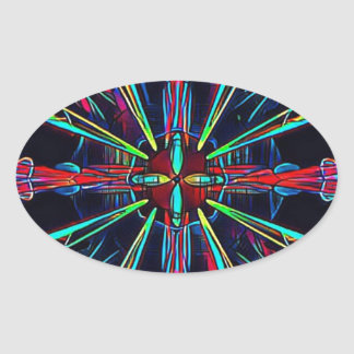 Cool Modern Colorful Neon Pattern Oval Sticker
