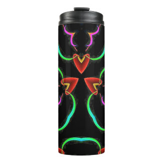 Cool Modern Colorfull Neon Abstract Hearts Thermal Tumbler