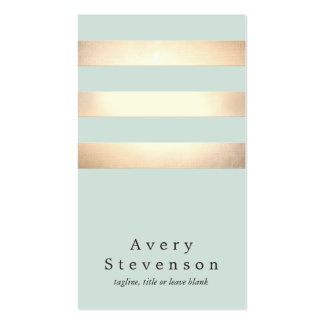Cool Modern Faux Gold and Blue Stripes Pack Of Standard Business Cards