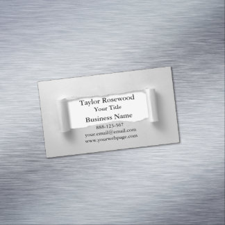 Cool Modern Faux Torn Paper Gray Magnetic Business Card