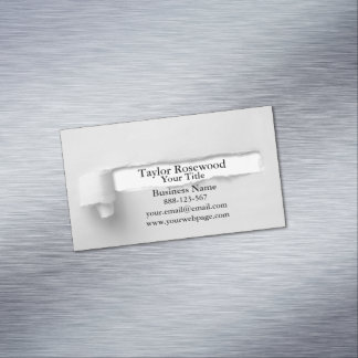 Cool Modern Faux Torn Paper Gray Magnetic Business Cards