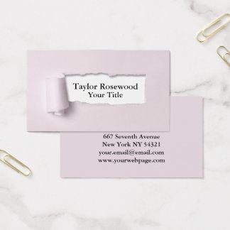 Cool Modern Faux Torn Paper Rose Business Card