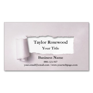 Cool Modern Faux Torn Paper Rose Magnetic Business Cards