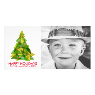 Cool Modern Geometric Christmas Tree Holiday Photo Photo Card