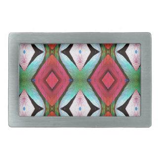 Cool Modern Magenta Teal  Pattern Belt Buckles