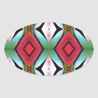 Cool Modern Magenta Teal  Pattern Oval Sticker