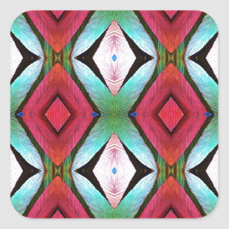 Cool Modern Magenta Teal  Pattern Square Sticker