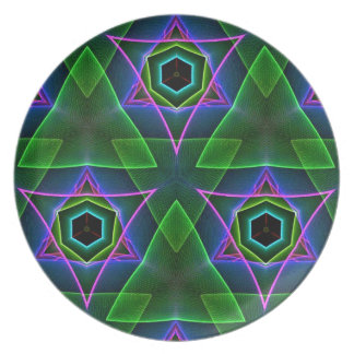 Cool Modern Neon Triangular Layers Plate