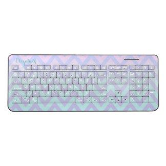 Cool Modern Ombre Zigzag ,Chevron-Personalized Wireless Keyboard