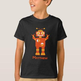 Cool Modern Orange Robot Personalized Boys T-Shirt