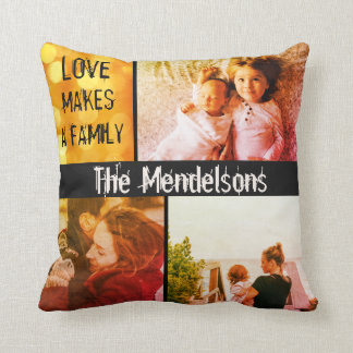 Cool modern personalized name message and photos throw pillow