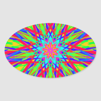 Cool Modern Radiating Artistic Abstract Oval Sticker