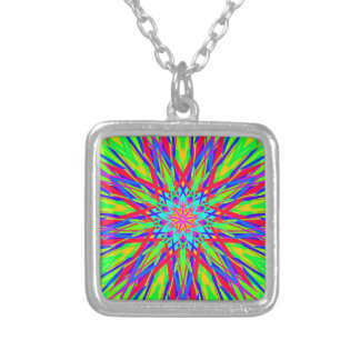 Cool Modern Radiating Artistic Abstract Square Pendant Necklace
