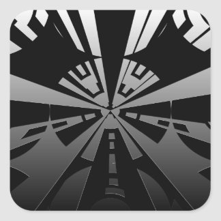 Cool modern rectangle art in black and silver stickers