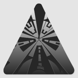 Cool modern rectangle art in black and silver triangle sticker