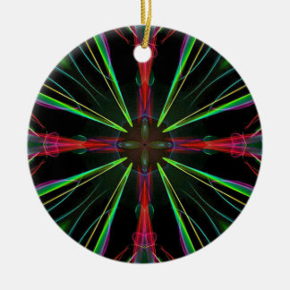 Cool Modern Red Green Christmas Abstract Round Ceramic Decoration