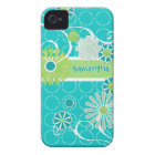 Cool Modern Scroll Swirl Flower Circle Dot Pattern iPhone 4 Cover