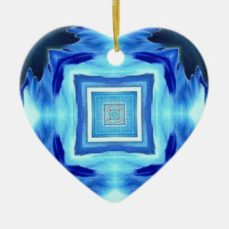 Cool Modern Shades of Blue Patterns Shapes Ceramic Heart Decoration