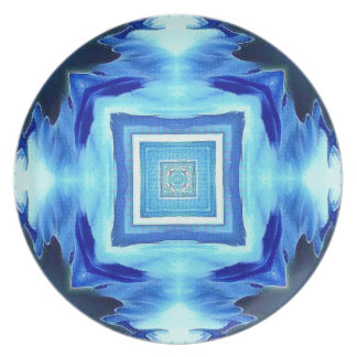 Cool Modern Shades of Blue Patterns Shapes Plate