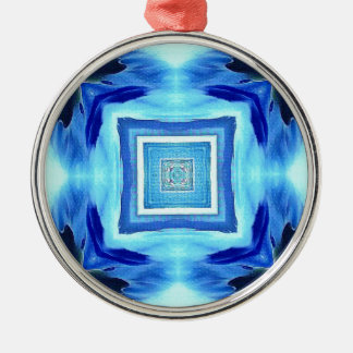 Cool Modern Shades of Blue Patterns Shapes Silver-Colored Round Decoration